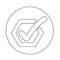 Verifique o ícone do botão de lista vetor
