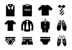 Pacote de ícones de vetor de roupa masculina