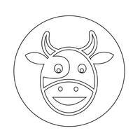 Ícone de cabeça de vaca vetor