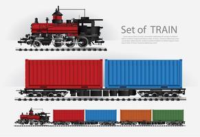 Trem de carga em uma estrada de ferro ilustração vetorial