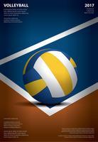 Torneio de voleibol cartaz modelo Design ilustração em vetor