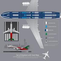 Conjunto de avião com ilustração de vetor de mapa de assento isolado
