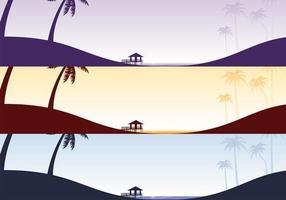 Pacote de papel de parede de praia tropical vetor