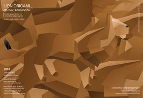 Leão Origami abstrato ilustração vetorial de fundo vetor