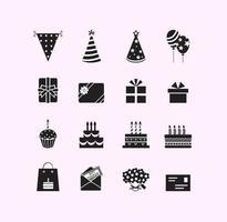 Pacote de símbolo de vetor de aniversário