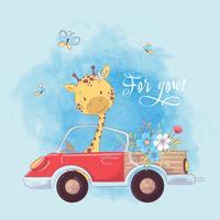 A ilustração de uma cópia para a sala de crianças veste o girafa bonito no caminhão com flores.