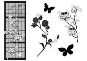 Pacote de vetores de flor asiática