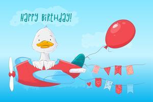Pato bonito do cartaz do cartão no plano e flores no estilo dos desenhos animados.