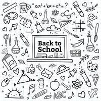 Mão desenhar de volta ao fundo da escola