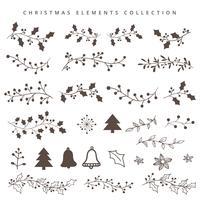 Mão de Natal desenhar elementos vetor