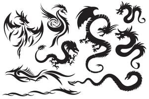 Dragões tribais. Conjunto dos dragões chineses, tatuagem tribal vetor
