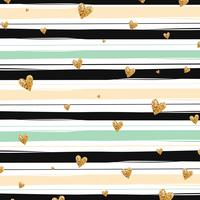 Padrão sem emenda de confetes coração brilhante ouro sobre fundo listrado vetor