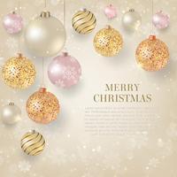 Fundo de Natal com enfeites de Natal luz. Fundo elegante de Natal com bolas de ouro e branco à noite