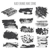 Salpicos de pincel preto grunge vetor