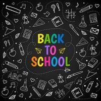Volta para escola giz doodle fundo no quadro-negro vetor