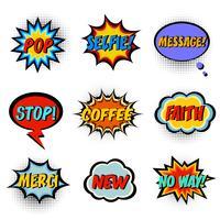 Palavras de quadrinhos. Conjunto de bolha do discurso em quadrinhos vetor