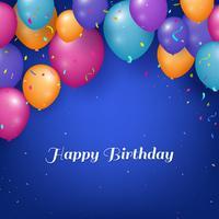 Realista feliz aniversário fundo com balões e confetes vetor