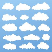 Cor branca ajustada do ícone do vetor da nuvem no fundo azul.