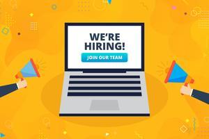 Estamos contratando símbolo, conceito de recrutamento de negócios com laptop e mão masculina segurando o megafone.
