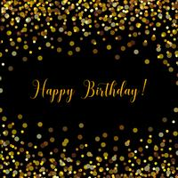 Cartão de feliz aniversário preto com confetes de ouro vetor