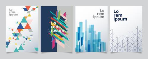 Conjunto de capas geométricas modelo de design, gradiente de meio-tom colorido com linhas de fundo.