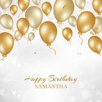 Fundo de feliz aniversário com balões de ouro vetor