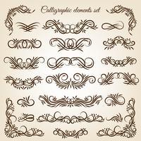 Conjunto de ornamentos de redemoinho caligráfico vintage vetor