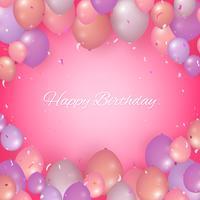 Realista feliz aniversário fundo com balões e confetes