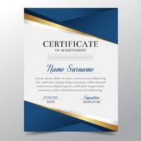 Molde do certificado com projeto elegante dourado e azul luxuoso, graduação do projeto do diploma, concessão, sucesso. Ilustração do vetor. vetor