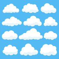 Nuvens dos desenhos animados isoladas na coleção do panorama do céu azul. Cloudscape no céu azul, ilustração nuvem branca vetor