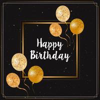 Cartão de feliz aniversário com balões de glitter dourados vetor
