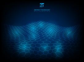 Fundo digital futurista de brilho do fulgor abstrato do teste padrão do hexágono da tecnologia.