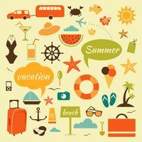 Coleção de elementos de verão vetor