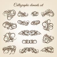 Conjunto de ornamentos de redemoinho caligráfico vintage