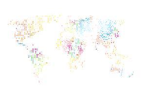 Mapa do mundo pontilhado. Computação gráfica abstrata Mapa do mundo de pontos redondos coloridos. Ilustração vetorial vetor