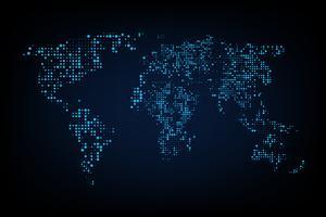 Mapa do mundo pontilhado. Mapa de mundo abstrato do gráfico de computador de pontos redondos azuis. Ilustração vetorial vetor