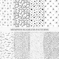 Coleção de amostras padrões de memphis. Moda dos anos 80-90. Texturas de mosaico preto e branco. vetor
