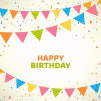 Cartão de feliz aniversário com bandeiras coloridas e confetes