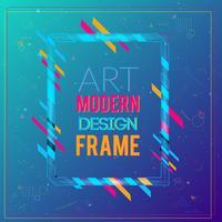 Quadro de vetor para gráficos de arte moderna de texto. Quadro dinâmico com formas geométricas abstratas coloridas à moda em torno dela em um fundo do inclinação. Linhas de cor de néon na moda em um estilo de design moderno.