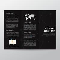 Brochura com Tecnologia Trifold em Preto. modelo de folheto de negócios, brochura de tendência.