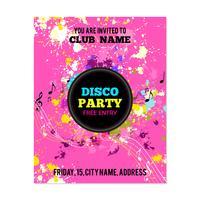 Cartaz de festa com salpicos de tinta e notas musicais vetor