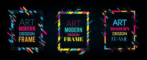 Quadro de vetor para gráficos de arte moderna de texto. Quadro dinâmico com formas geométricas abstratas coloridas à moda em torno dela em um fundo preto. Linhas de cor de néon na moda em um estilo de design moderno material.