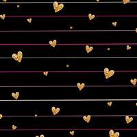 Padrão sem emenda de confetes coração brilhante ouro sobre fundo listrado