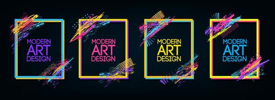 Quadro de vetor para gráficos de arte moderna de texto para descolados. fundo preto geométrico à moda do quadro dinâmico. elemento para cartões de visita design, convites, cartões de presente, folhetos e brochuras.