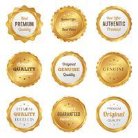 Emblemas de ouro de luxo e rótulos produto de qualidade premium vetor
