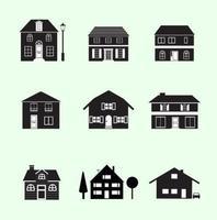 Pacote de vetor de casas em preto e branco