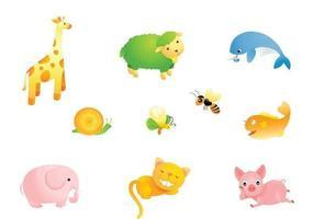 Pacote bonito do vetor dos animais dos desenhos animados