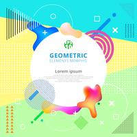 Elementos geométricos abstratos memphis estilos na moda. Cartaz de design moderno, capa, cartão