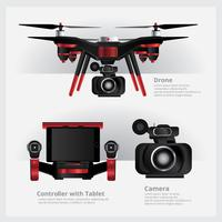 Drone com câmera VDO e ilustração vetorial de controlador