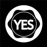 Ícone do botão Sim vetor